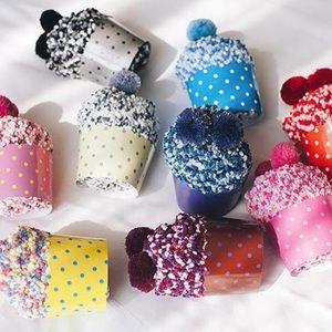 Fully Assembled Purple Cupcake Pom Pom Socks